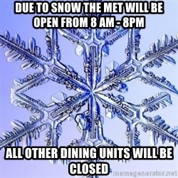 Special Snowflake meme - Due to snow the Met will be open from 8 am - 8pm All other dining units will be closed