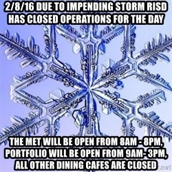 Special Snowflake meme - 2/8/16 Due to impending storm RISD has closed operations for the day The Met will be open from 8am - 8pm, Portfolio will be open from 9am- 3pm, all other dining cafes are closed