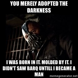 Bane Meme - You merely adopted the darkness I was born in it. Molded by it. I didn't saw BARQ untill I became a man