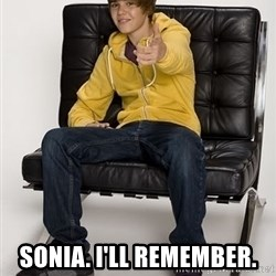 Justin Bieber Pointing -  SONIA. I'LL REMEMBER.