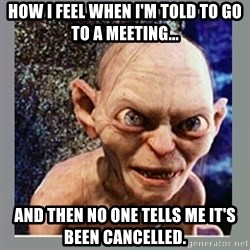 Smeagol - how i feel when I'm told to go to a meeting...  and then no one tells me it's been cancelled.