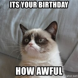 Grumpy cat 5 - its your birthday how awful