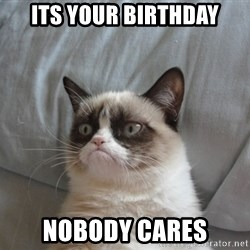 Grumpy cat 5 - its your birthday nobody cares