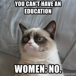 Grumpy cat good - you can't have an education women: No.