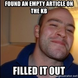 Good Guy Greg - Non Smoker - found an empty article on the KB filled it out