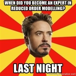 Leave it to Iron Man - When did you become an expert in reduced order modelling? Last Night