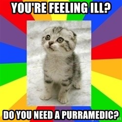 Cute Kitten - You're feeling ill? Do you need a purramedic?