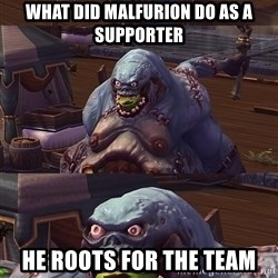 Bad Pun Stitches - what did malfurion do as a supporter he roots for the team