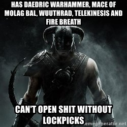 Scumbag Dovahkiin - Has Daedric Warhammer, Mace of molag bal, wuuthrad, Telekinesis and Fire breath can't open shit without lockpicks