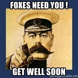 your country needs you - FOXES NEED YOU ! GET WELL SOON