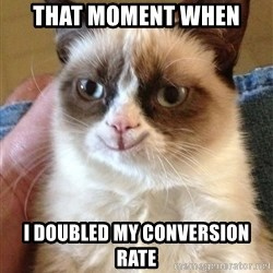 Happy Grumpy Cat 2 - That moment when  i doubled my conversion rate