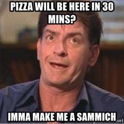 Sheen Derp - Pizza will be here in 30 mins?  Imma make me a Sammich
