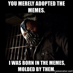 Bane Meme - You merely adopted the memes.  I was born in the memes, molded by them.