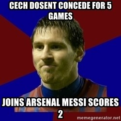 Lionel Messi - Cech dosent concede for 5 games joins arsenal messi scores 2