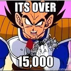 Over 9000 - its over  15,000