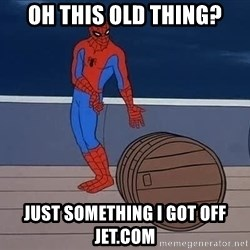 Spiderman and barrel - Oh this old thing? Just something I got off jet.com