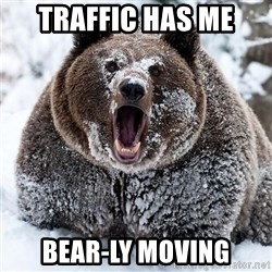 Clean Cocaine Bear - Traffic has me  Bear-ly moving