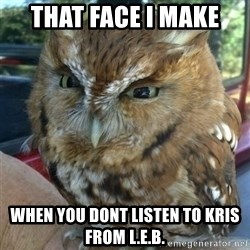 Overly Angry Owl - That Face I Make  When you dont listen to Kris from l.e.b.