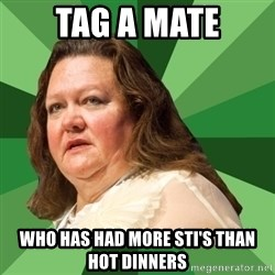Dumb Whore Gina Rinehart - Tag a mate Who has had more STI's than hot dinners