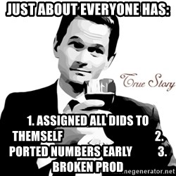 True Story Barney Staison - Just about Everyone has: 1. Assigned all DIDs to themself                                        2. Ported Numbers early           3. Broken Prod
