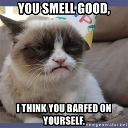 Birthday Grumpy Cat - You smell good, I think you barfed on yourself.