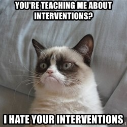 Grumpy cat good - you're teaching me about interventions? I hate your interventions