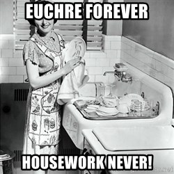 50s Housewife - euchre forever housework never!
