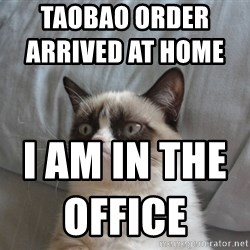Grumpy cat good - Taobao order arrived at home                         I am in the office