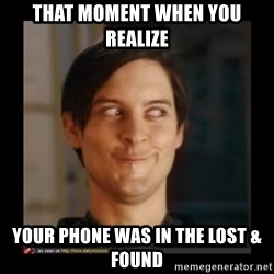 Tobey_Maguire - that moment when you realize your phone was in the Lost & Found