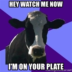 Coworker Cow - hey watch me now I'm on your plate