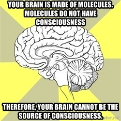 Traitor Brain - Your brain is made of molecules.  Molecules do not have consciousness Therefore, your brain cannot be the source of consciousness.
