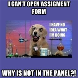 I don't know what i'm doing! dog - I can't open Assigment Form Why is not in the panel?!