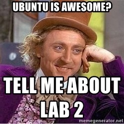 Oh so you're - Ubuntu is awesome? tell me about Lab 2