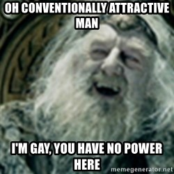 you have no power here - Oh conventionally attractive man I'm gay, you have no power here