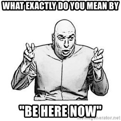 """Sceptical Dr. Evil - What exactly do you mean by """"BE HERE NOW"""""""