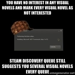 Scumbag Steam - You have no interest in any visual novels and mark every visual novel as not interested steam discovery queue still suggests you several visual novels every queue