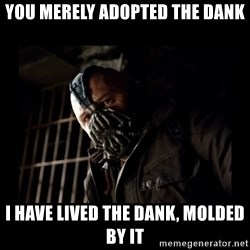 Bane Meme - You merely adopted the dank I have lived the dank, molded by it