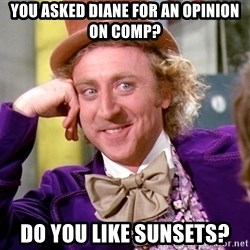 Willy Wonka - You asked diane for an opinion on comp? do you like sunsets?