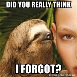Whisper Sloth - did you really think I forgot?