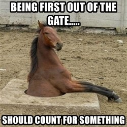 Hole Horse - BEING FIRST OUT OF THE GATE..... SHOULD COUNT FOR SOMETHING