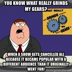 YOU KNOW WHAT REALLY GRINDS MY GEARS PETER - You know what really grinds my gears? When a show gets cancelled all because it became popular with a different audience than it originally went for!