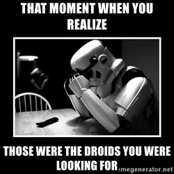 Sad Trooper - That moment when you realize Those were the droids you were looking for