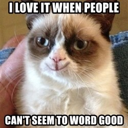 Happy Grumpy Cat 2 - I Love it when people Can't seem to word good