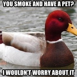 Malicious advice mallard - You smoke and have a pet? I wouldn't worry about it