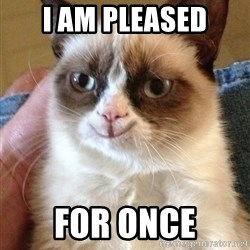 Happy Grumpy Cat 2 - i am pleased for once