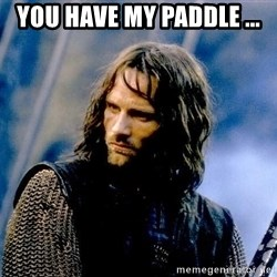 Not this day Aragorn - You have my paddle ...