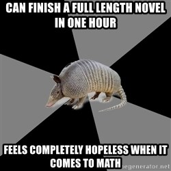 English Major Armadillo - CAN FINISH A FULL LENGTH NOVEL IN ONE HOUR FEELS COMPLETELY HOPELESS WHEN IT COMES TO MATH