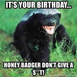 Honey Badger Actual - It's your birthday... Honey badger don't give a s**t!