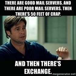 50 feet of Crap - there are good mail servers, and there are poor mail servers. then there's 50 feet of crap. and then there's exchange.
