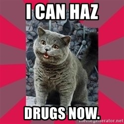 I can haz - I can haz drugs now.